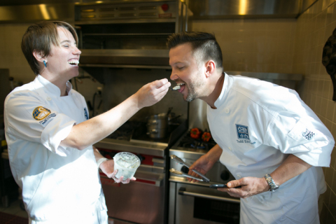 Chef Adrienne Mosier and Chef Todd Erickson taste test at kitchen collaborative event. (Photo: Business Wire)