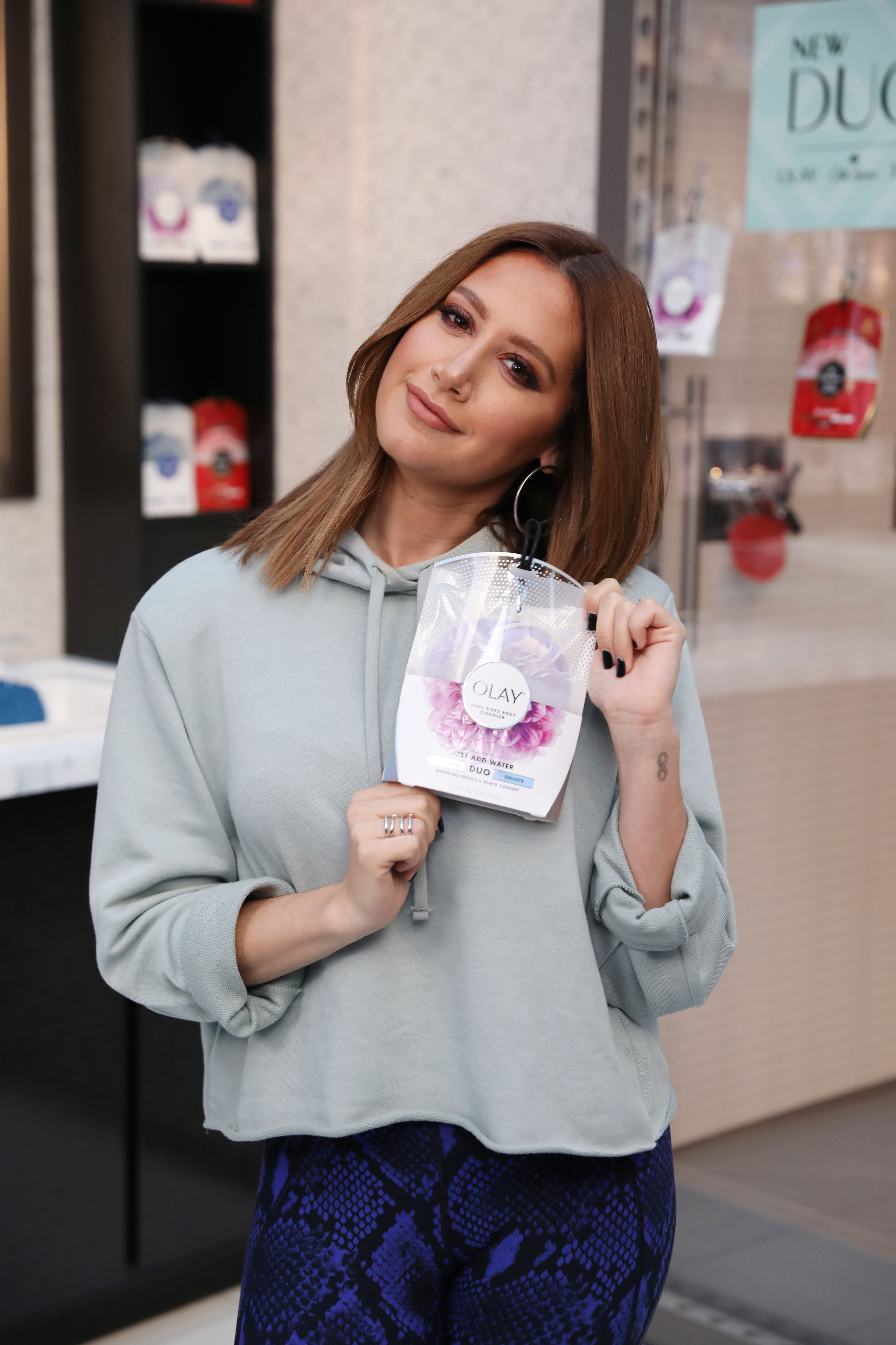 Actress Ashley Tisdale reinvented her morning as she helped launch DUO, the latest body cleanser from Olay, Ivory and Old Spice. The actress attended a Daybreaker party and yoga session at Hollywood & Highland on Thursday, Feb. 16, 2017, in Los Angeles. Learn more about the new product at cleansingduos.com (Photo by Matt Sayles for DUO/AP Images)