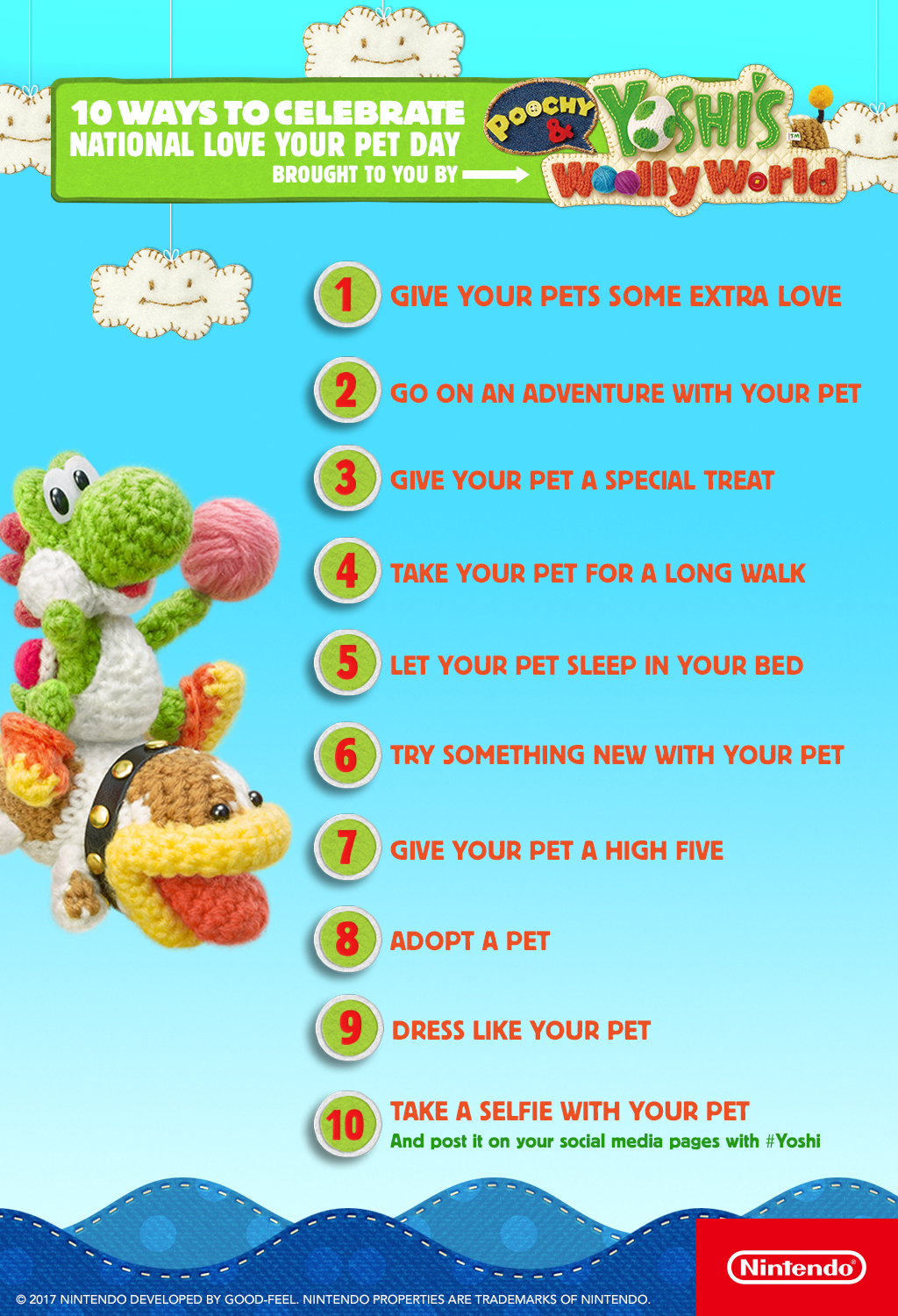 REDMOND, Wash. – In celebration of National Love Your Pet Day on Feb. 20, Poochy and Yoshi offer tips about how to honor your adorable pets on this special day. (Graphic: Business Wire)