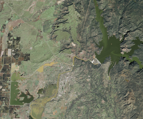 Lake Oroville water elevation as seen from space by Airbus SPOT satellite on February 14, 2017. (Pho ...