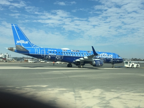 "JetBlue's ""Blueprint"" special livery at Boston's Logan International Airport on February 18, 2017. ( ..."