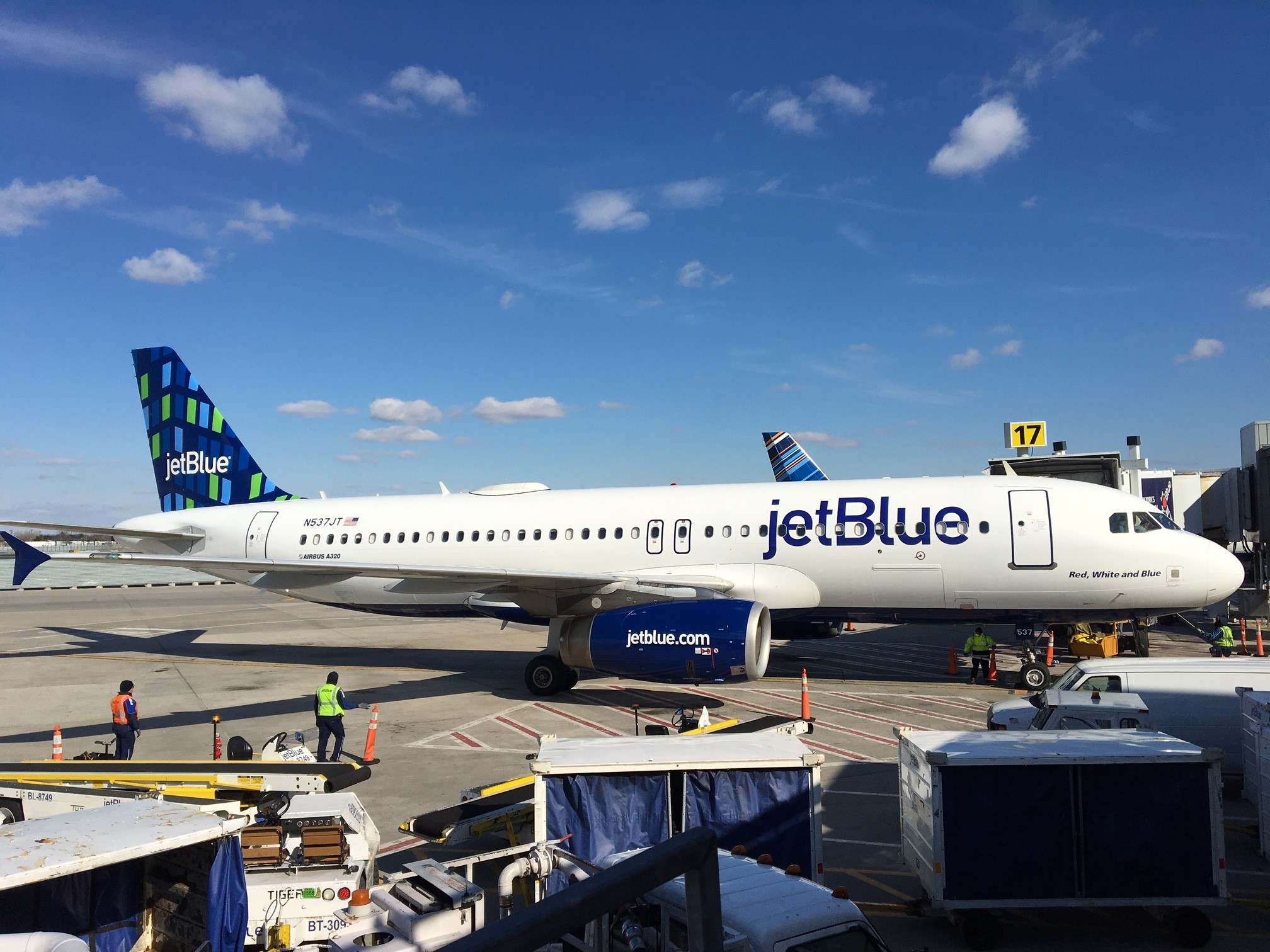 """JetBlue's """"Highrise"""" tailfin design at New York's John F. Kennedy International Airport on February 16, 2017. (Photo: Business Wire)"""