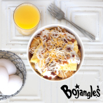 The NEW made-to-order Bojangles' Bo-Tato Breakfast Bowl includes: 6 crispy Bojangles' Bo-Tato Rounds® , a Fluffy Folded Egg, Savory Sausage Gravy, Tasty Bacon and Sausage Crumbles, and a natural shredded Monterey Jack and Cheddar Cheese Blend. (Photo: Bojangles')