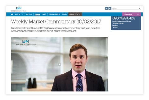 Investment management firm Brooks Macdonald creates and delivers its Weekly Market Commentary - in minutes - using the Qumu Cloud video solution. (Photo: Business Wire)