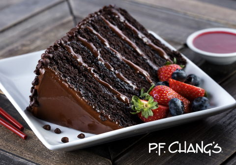 P.F. Chang's Great Wall of Chocolate, a decadent, six-layer frosted chocolate cake. (Photo: Business Wire)