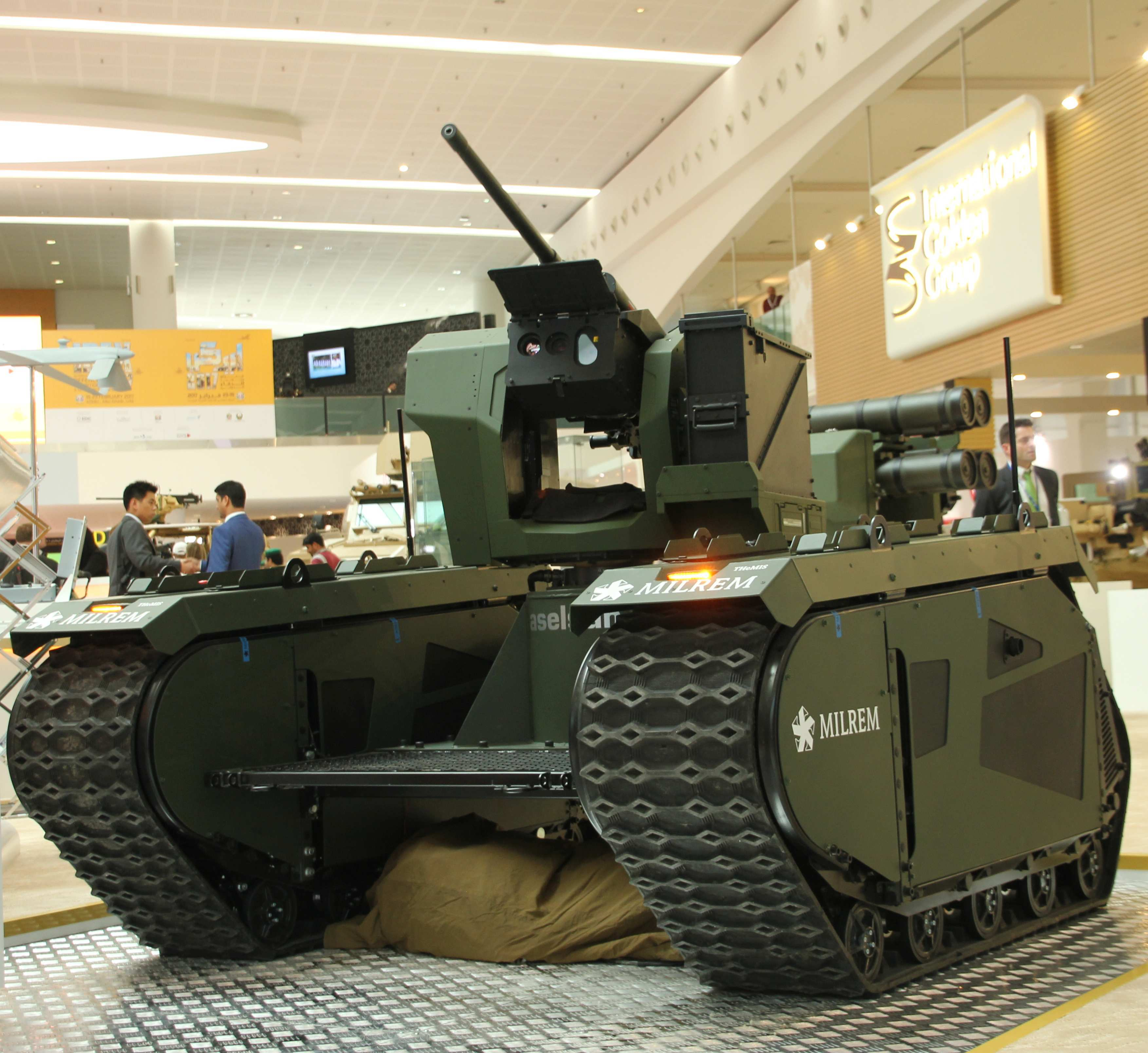 The joint product of IGG Aselsan and Milrem features the THeMIS unmanned ground vehicle with Aselsan's SARP remote weapon station. (Photo: Business Wire)