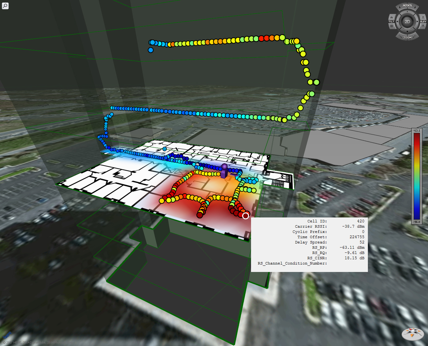 The PCTEL-TRX cellular test and measurement solution generates 3D indoor/outdoor maps using automatic geolocation. The text box reveals key data collected at the selected location. (Graphic: Business Wire)