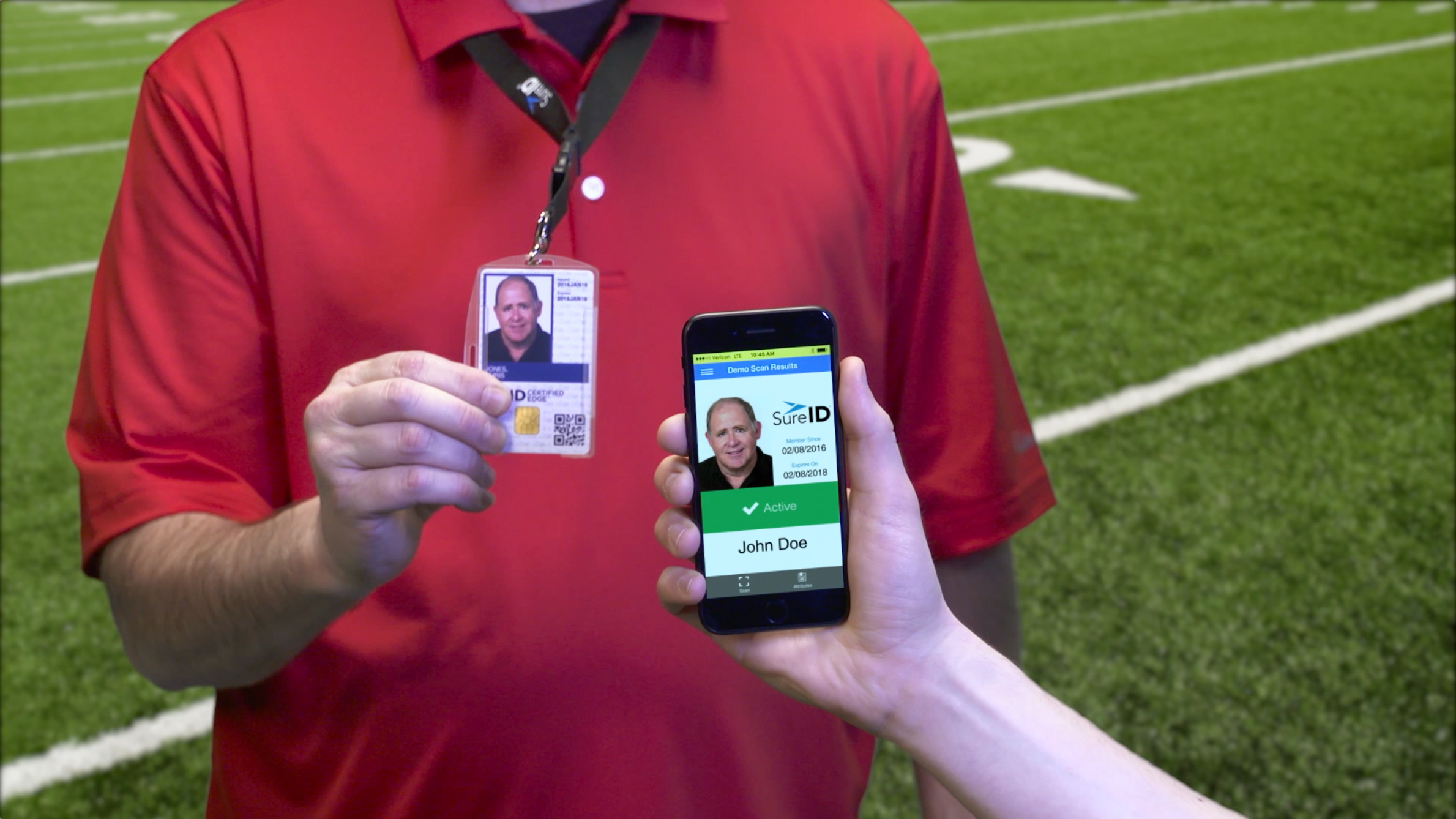 The SureID mobile app will instantly confirm that the coach or volunteer is active and will display the coach's or volunteer's photo. (Photo: Business Wire)