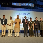 Shri Arun Jaitley, Hon'ble Union Minister of Finance and Corporate Affairs, with the winners of HCL Grant 2017, Shiv Nadar and Robin Abrams (Photo: Business Wire)
