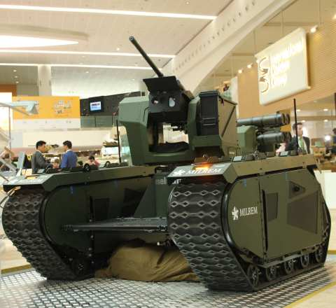 The joint product of IGG Aselsan and Milrem features the THeMIS unmanned ground vehicle with Aselsan ...