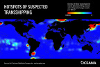 This image shows global hotspots of likely transshipments between refrigerated cargo vessels and the largest commercial fishing vessels from 2012 to 2016. (Graphic: Business Wire)
