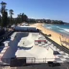 The California Skateparks design for the Vans Pro Skate Park Series Bowl at the Australian Open of Surfing in Manly Beach features a bowl, jam-packed with opportunities for speed, air and style. Image courtesy of California Skateparks.