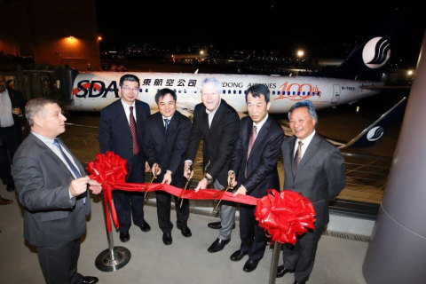 CDB Aviation delivery of one new Boeing 737-800 aircraft to Shandong Airlines; Pictured (from left): Mr. Greg Laxton, Sales Director, Boeing Commercial Airplanes; Mr. Yu Bo, VP of Maintenance & Engineering, Shandong Airlines; Mr. Miao Liubing, General Manager of Shandong Airlines; Mr. Marty Chamberlin, VP of 737 Manufacturing, Boeing; Mr. Fan Xun, Chairman, CDB Aviation; and Mr. Peter Chang, President and CEO, CDB Aviation. (Photo: Business Wire)