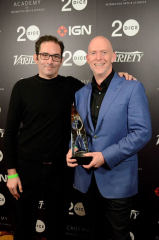 Frank Pearce (right) and Jeff Kaplan (left) from Blizzard Entertainment accept Game of the Year for Overwatch at the 20th D.I.C.E. Awards in Las Vegas. (Photo: Business Wire)