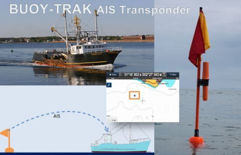 BUOY-TRAK, the world's first and only fully certified and approved fishing buoy AIS tracking transponder (Photo: Business Wire)