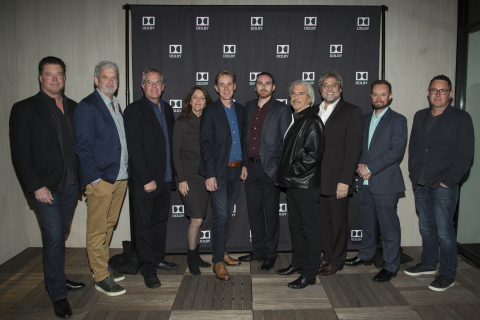 On Thursday, February 23, 2017, Dolby Laboratories celebrated the 89th Academy Award nominees in the Best Cinematography, Sound Editing and Sound Mixing categories with an exclusive party at The London Hotel in West Hollywood. Pictured from left to right: Curt Behlmer, SVP, Content Solutions & Industry Relations, Dolby Laboratories; Peter Grace, sound mixer of 'Hacksaw Ridge'; Wylie Stateman, sound editor of 'Deepwater Horizon'; Renee Tondelli, sound editor of 'Deepwater Horizon'; Robert Mackenzie, sound editor and sound mixer of 'Hacksaw Ridge'; Bernard Gariepy Strobl, sound mixer of 'Arrival'; Alan Robert Murray, sound editor of 'Sully'; Greg P. Russell, sound mixer of '13 Hours: The Secret Soldiers of Benghazi'; Andy Wright, sound editor and sound mixer of 'Hacksaw Ridge'; and Greig Fraser, cinematographer of 'Lion'. (Photo: Greg Grudt/Mathew Imaging)