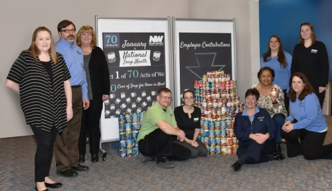 Northwest Federal employees with the first of 70 Acts of We—700 cans of soup for those in need. (Photo: Business Wire)