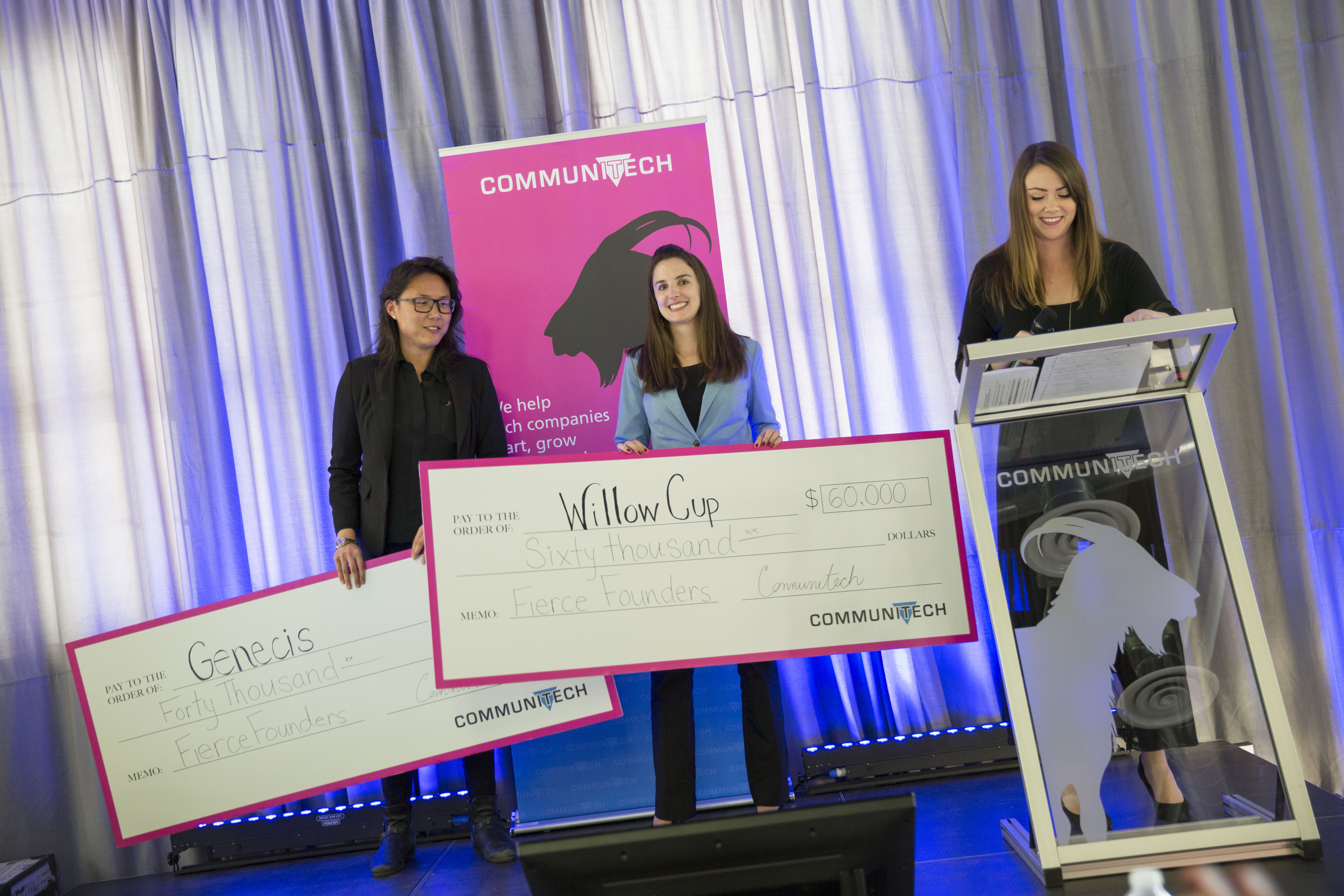 Winners in the Fierce Founders pitch competition, from left, Luna Yu, CEO at Genecis EnviroTech, and Sarah Bonham, CEO of Willow Cup. At right, event moderator Holly Pearson. (Communitech photo: Meghan Thompson)