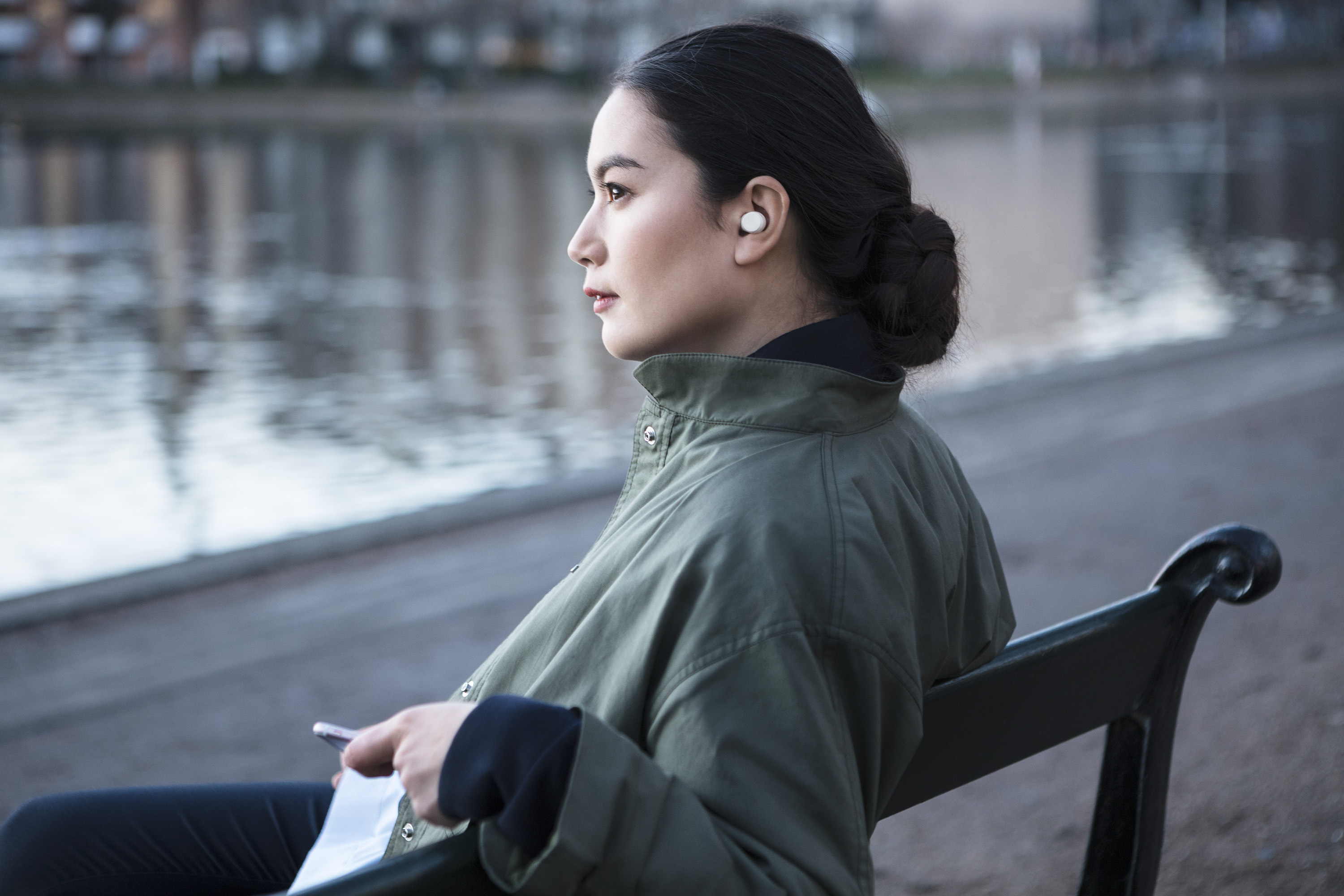 Earin showcased the M-2 True Wireless Earbuds, coming spring 2017, at Mobile World Congress (Photo: Business Wire)