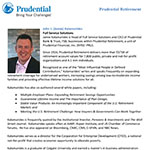 Bio for Jamie Kalamarides, head of Full Service Solutions, Prudential Retirement.