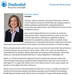 Bio for Christine Marcks, president of Prudential Retirement.