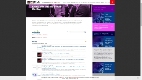 Business Wire will be making breaking exhibitor news releases available through the Mobile World Congress Exhibitor Online News Centre. (Photo: Business Wire)