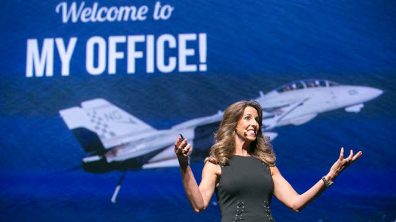 CONNECT keynote speaker and first female F-14 Tomcat fighter pilot in the U.S., Carey Lohrenz. (Photo: Business Wire)