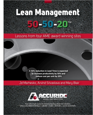 "Accuride publishes new book, ""Lean Management 50-50-20,"" as a guide to Lean implementation in paperback and e-book formats. (Photo: Business Wire)"