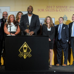 """HomeServe USA accepts the """"Grand Stevie Award"""" as the third-most recognized organization at the 2017 Stevie® Awards for Sales & Customer Service. (Photo: Business Wire)"""