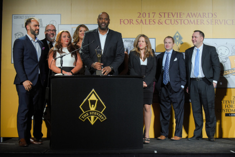 "HomeServe USA accepts the ""Grand Stevie Award"" as the third-most recognized organization at the 2017 Stevie® Awards for Sales & Customer Service. (Photo: Business Wire)"