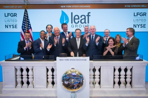 Executives and guests of Leaf Group Ltd. (NYSE:LFGR) visit the New York Stock Exchange (NYSE) to cel ...