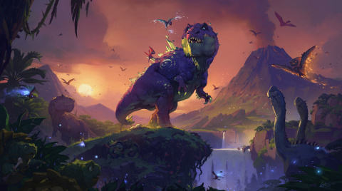 Journey to Un'Goro™ takes Hearthstone® players to a land of primordial wonder, filled with ancient elementals, frightening flora, and some of the fiercest predators to ever inhabit Azeroth (Graphic: Business Wire)