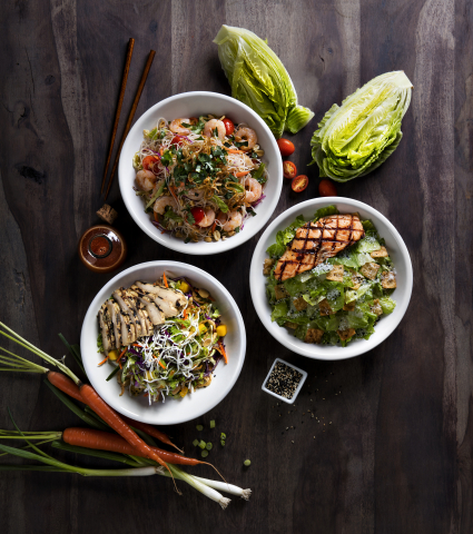 P.F. Chang's new Mandarin Crunch Salad, Asian Caesar Salad and Vietnamese Noodle Salad. (Photo: Business Wire)