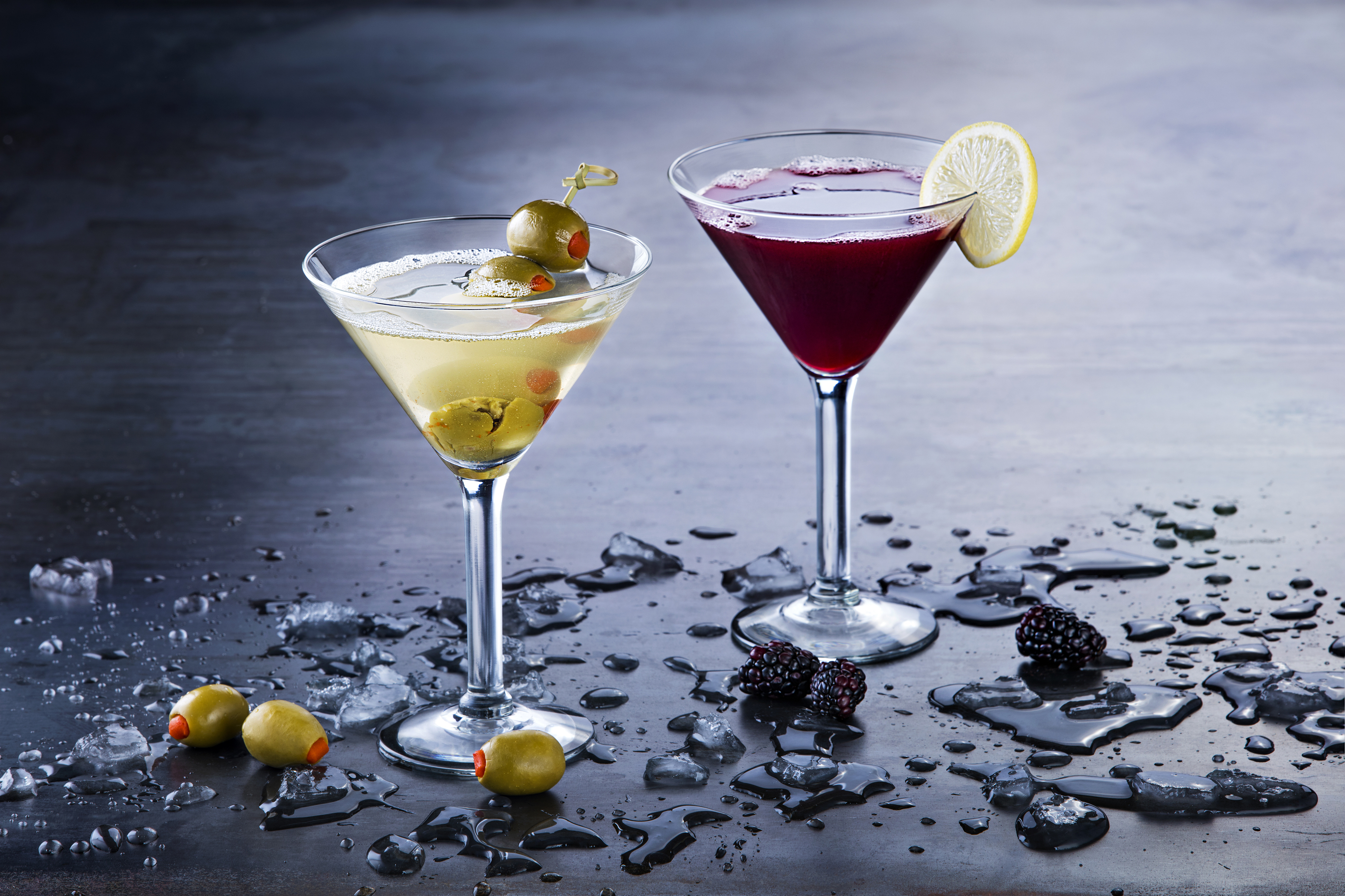 P.F. Chang's classic Dirty Olive Martini and Blackberry Spice Martini. (Photo: Business Wire)