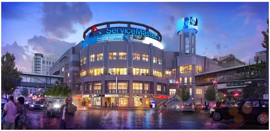 ServiceMaster will occupy the former Peabody Place mall adjacent to the historic Peabody Hotel and join the revitalization of downtown Memphis. Approximately 1,200 employees and contractors are expected to move in at the end of 2017. (Photo: Business Wire)
