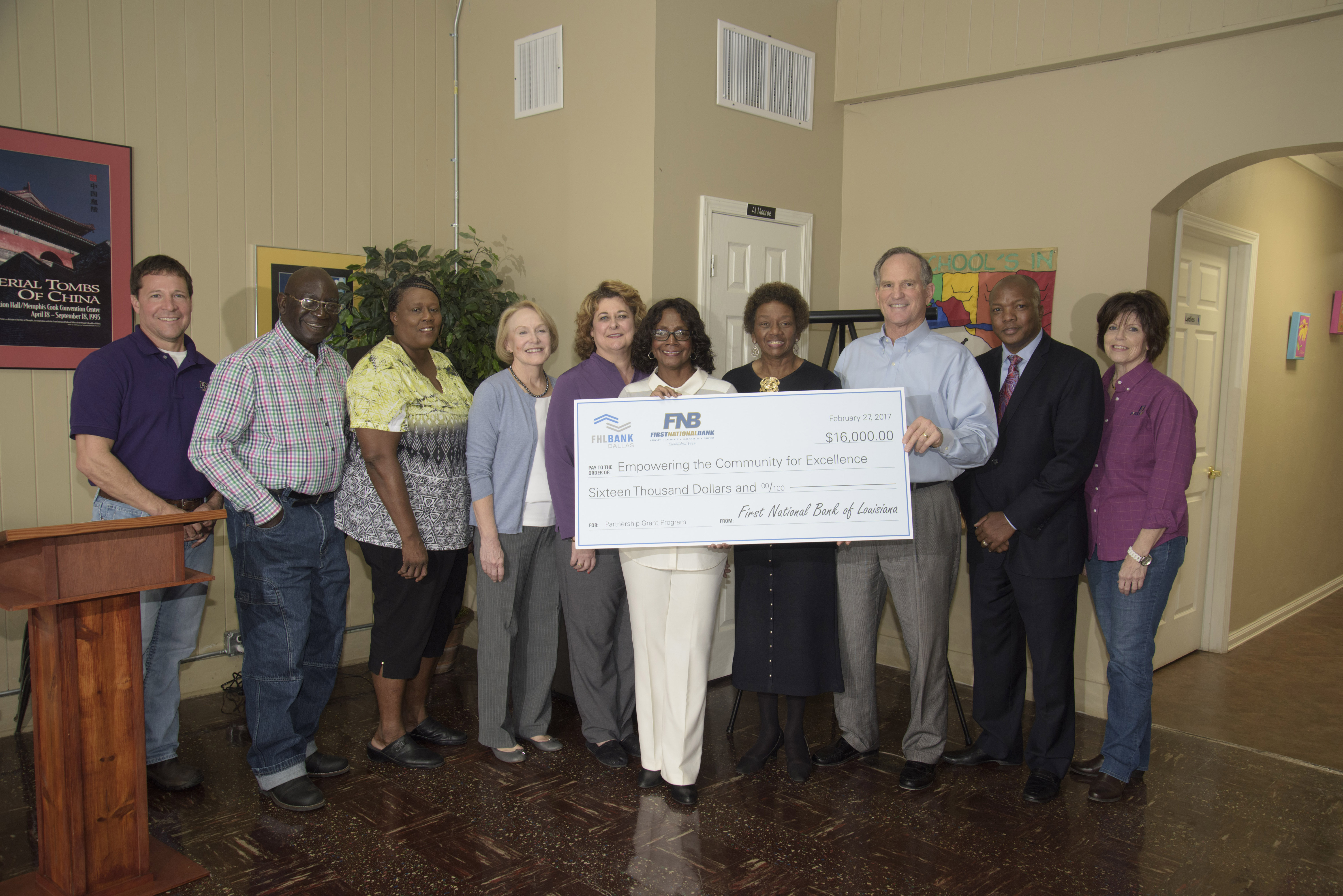 Louisiana-based nonprofit organization Empowering the Community for Excellence received a $16,000 Partnership Grant Program award through FHLB Dallas and First National Bank of Louisiana at a check presentation today. (Photo: Business Wire)