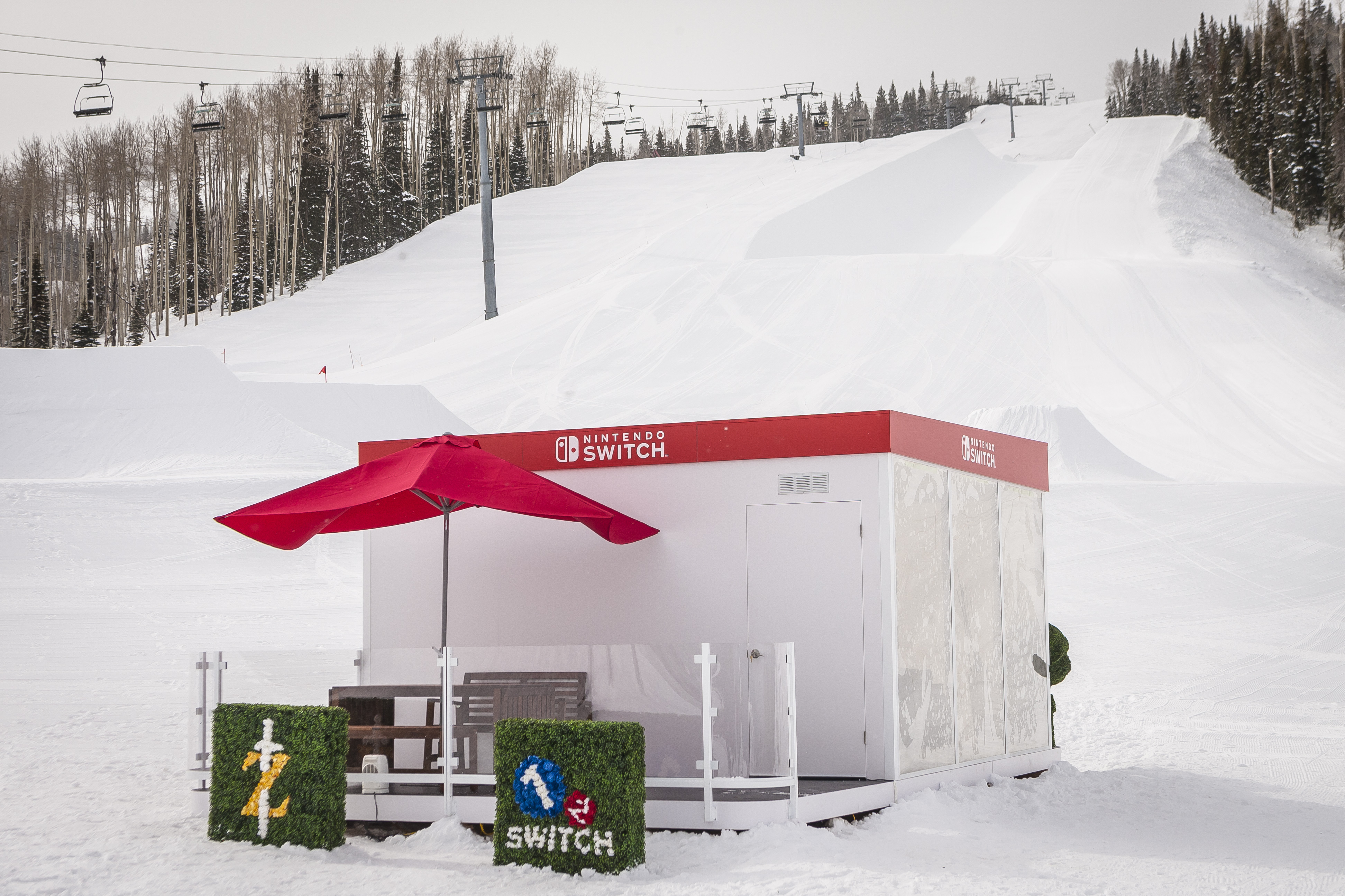 In this photo provided by Nintendo of America, the Nintendo Switch in Unexpected Places is set against the backdrop of the Snowmass Ski Resort in Aspen, Colorado, on Feb. 27. The versatility of the Nintendo Switch system allows consumers to play in a variety of settings, from the comfort of their own living room to any location imaginable. The new Nintendo Switch home gaming system launches worldwide on March 3. (Photo: Nintendo of America)