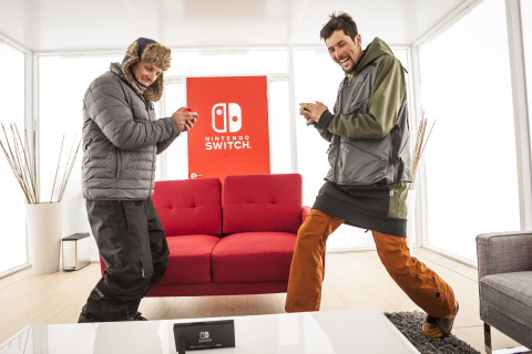 In this photo provided by Nintendo of America, pro snowboarders play the 1-2-Switch game on the Nintendo Switch system while in tabletop mode in the Snowmass Ski Resort in Aspen, Colorado. The new Nintendo Switch home gaming system launches worldwide on March 3. (Photo: Nintendo of America)