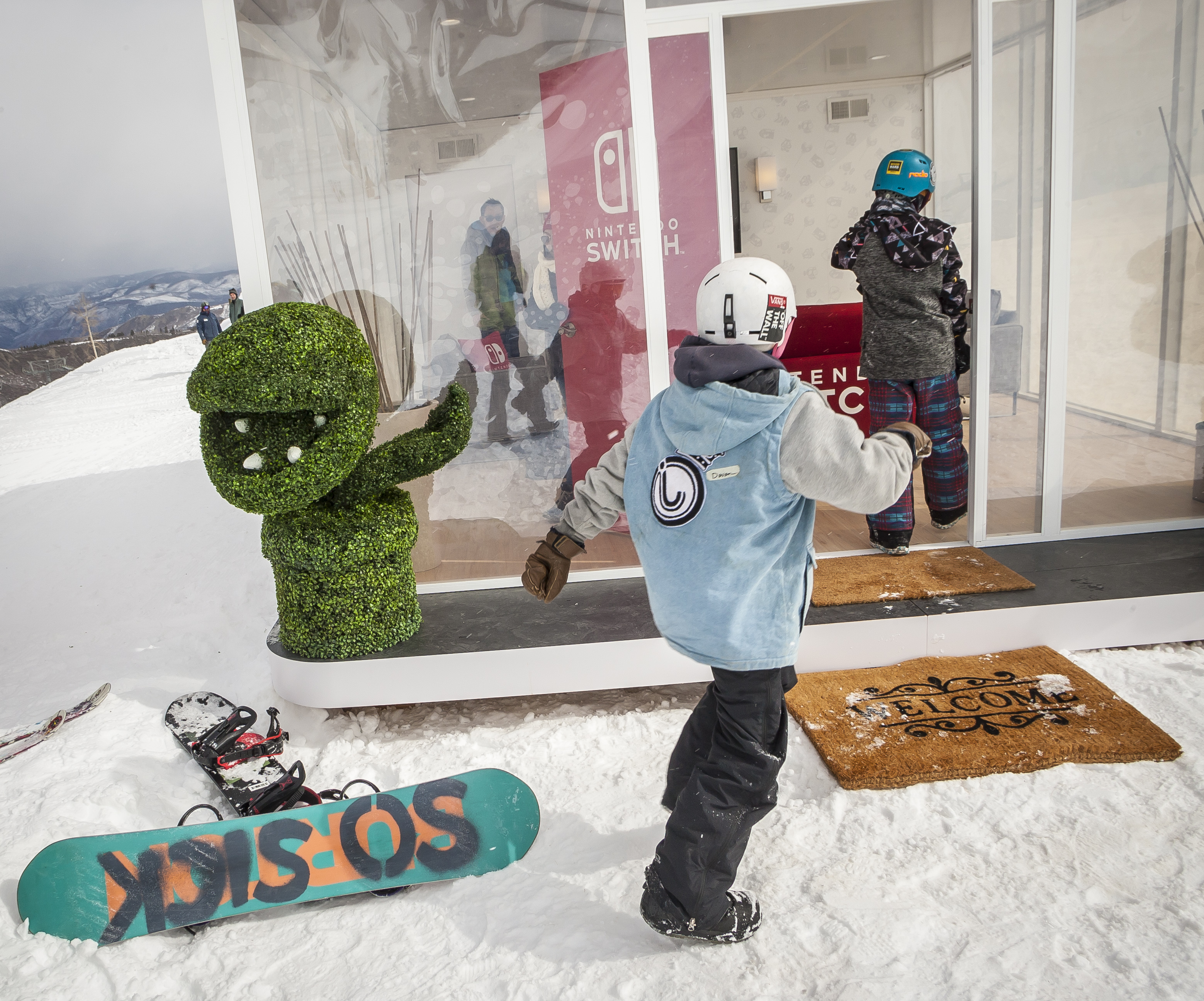In this photo provided by Nintendo of America, kids discover the Nintendo Switch in Unexpected Places at Snowmass Ski Resort in Aspen, Colorado, on Feb. 27. A home gaming system with the portability of a handheld, the Nintendo Switch system launches worldwide on March 3. (Photo: Nintendo of America)