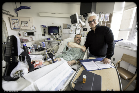 Shown signing the deal at the UCSF Medical Center ICU are left to right: Tim Bluhm and Joe Poletto, Founder of Blue Rose Music. (Photo: Business Wire)