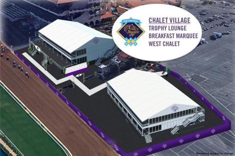"""Breeders'  Cup and Del Mar racetrack are investing approximately $4.5 million to create more premium seating options and enhance the on-site experience for fans and participants. A total of 2,700 new, premium hospitality seating options will be added to Del Mar, including two temporary Trackside Luxury Chalets and temporary box seats. The temporary structures will be situated in a newly created """"Chalet Village"""" at the west end of the Stretch Run and will accommodate 1,800 guests in two double decker structures, each with its own catering, wagering, and restroom services. (Photo: Business Wire)"""