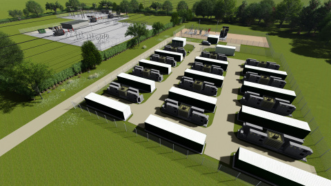 Artist impression of 40MW battery storage park at Glassenbury in the UK. Image courtesy of Low Carbon.
