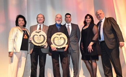 At the Feb. 25 gala celebrating the 30th Anniversary of the pivotal U.S. Supreme Court decision, tribal leaders gave special recognition to the attorneys behind the landmark 1987 ruling. Pictured are (left to right) Morongo Vice Chair Mary Ann Andreas, Cabazon attorney Glenn Feldman, Morongo attorney George Forman, Cabazon Chairman Doug Welmas, Cabazon Vice Chair San Juanita Callaway and Morongo Tribal Chairman Robert Martin. (Photo: Business Wire)