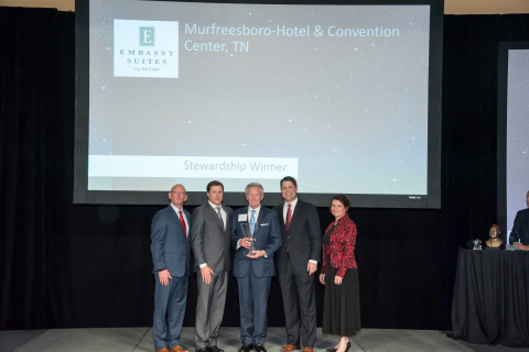 JQH's 283-suite Embassy Suites by Hilton Nashville SE - Murfreesboro in Tennessee was recently presented with the National Stewardship Award for outreach and involvement in the community at the Hilton All Suites Brands Celebration in Las Vegas. Phill Burgess (center), JQH's vice president of sales and revenue optimization, accepted the award on behalf of the company. Photo Source: Hilton All Suites Brands