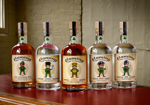 Flaming Leprechaun's premium products from left to right: Fiery Irish Cinnamon Spirit (70 proof), Limestone Filtered Vodka (80 proof), Special Reserve Blended Irish Whiskey (92 proof), Triple Distilled Rum (80 proof), Limestone Filtered Celtic Gin (88 proof) (Photo: Business Wire)