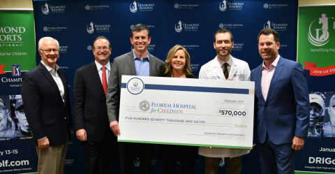 The Diamond Resorts Invitational was bigger and better in 2017 with the addition of PGA TOUR Champions and LPGA players, and the annual donation check to the Florida Hospital for Children (FHFC) increased to $570,000. The January pro and celebrity golf tournament has now donated over $2,000,000 to the Florida Hospital for Children since 2013. In this photo from left to right, Dick Batchelor, Chairman of Florida Hospital for Children Foundation; David Collis, Vice President of Development, Florida Hospital for Children; Robert DiGisi, Vice President of National Marketing for Diamond Resorts International; Marla Silliman, Senior Executive Officer for Florida Hospital for Children; David Shook, Medical Director of Pediatric Bone Marrow Transplant, Florida Hospital for Children; and Michael Flaskey, Chief Operating Officer, Diamond Resorts International. (Photo credit: Mark Bearss, Diamond Resorts International)