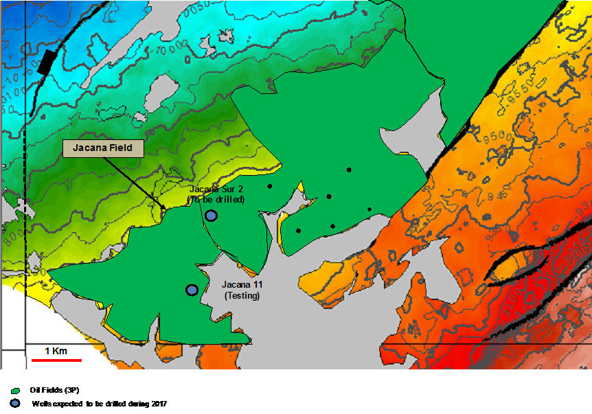 APPENDIX: Jacana Field Structural Map, Top Guadalupe Formation (Photo: Business Wire)
