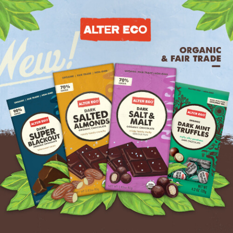 Alter Eco Unveils New Dark Chocolate Bars and Truffles at Natural Products Expo West 2017 (Graphic: Business Wire)