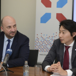 (from left to right) : Etienne Schneider, Deputy Prime Minister, Minister of the Economy of the Grand Duchy of Luxembourg ; Takeshi Hakamada, CEO of ispace (Photo: Business Wire)