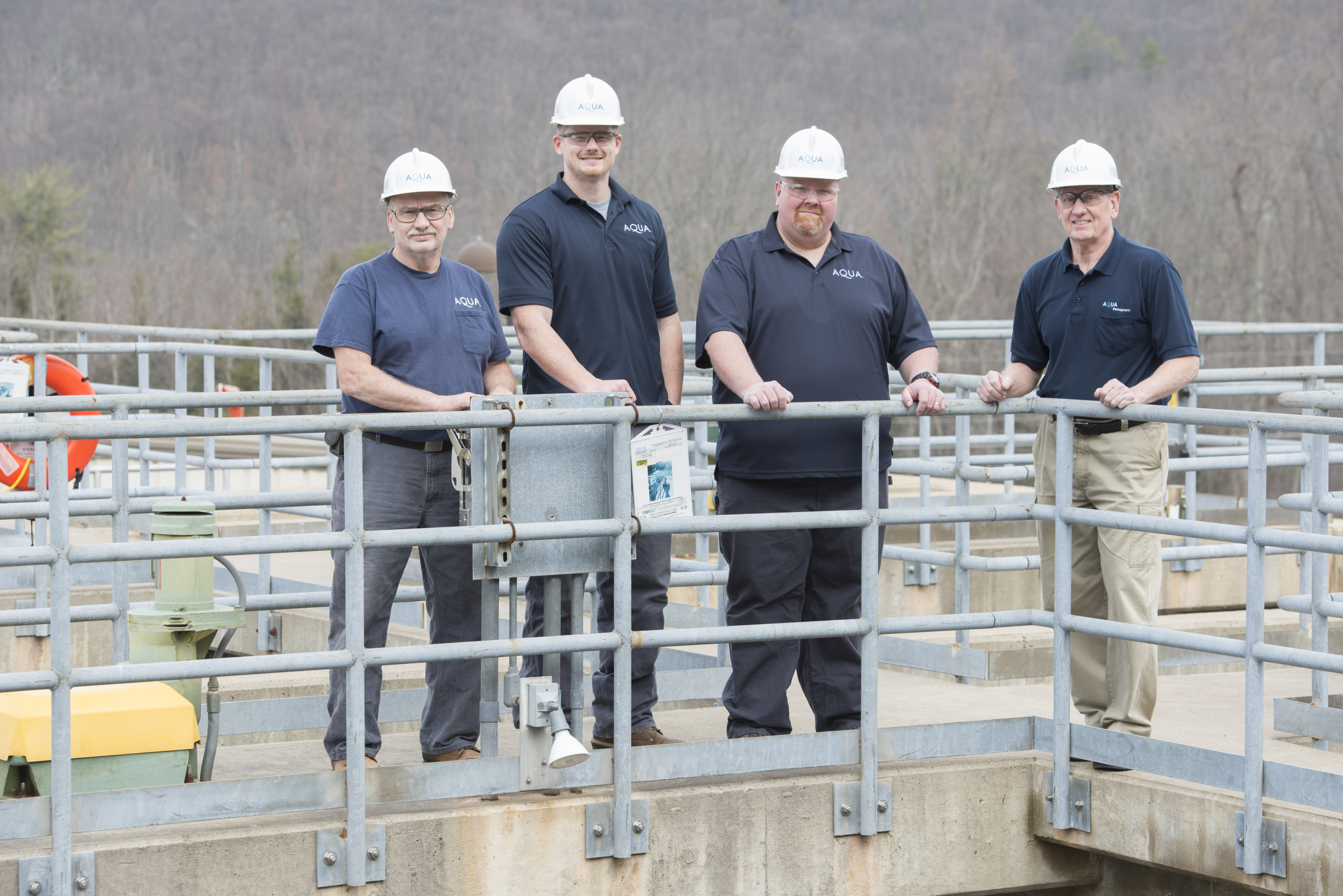 Aqua Pennsylvania's Roaring Creek earned the water treatment plant team Partnership for Safe Water's Phase IV President's Award, one of the highest honors given by the organization. The Roaring Creek operations team includes L to R: Lead Maintenance Operator Gary Hampton, maintenance operators Dan Ogden and Terry Weidner, and Plant Superintendent Rich Kotwica. Not pictured are maintenance operators Jeremy Nicodemus, Bryan Yagel, Aaron Tom and Mike Budwash (Photo: Business Wire)